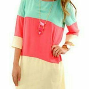 choies Dresses & Skirts - 3/4 Sleeve Keyhole Shift Dress orange/teal/yellow