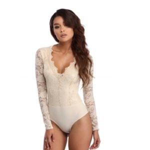 Tops - Natural Color Lace Bodysuit