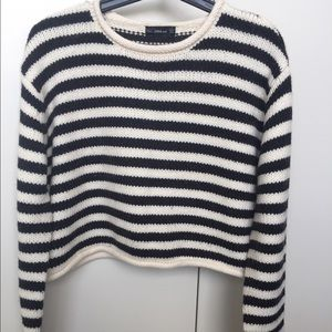 zara striped crop sweater