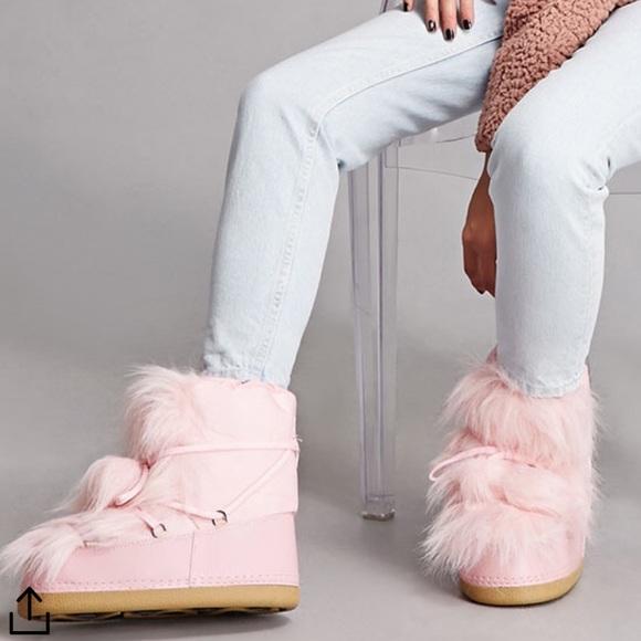 Shoes   Pink Fur Moon Boots   Poshmark
