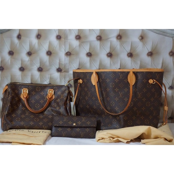 02b8dcd93 Louis Vuitton Bags | Auth Neverfull Mm Speedy 30 And Wallet | Poshmark