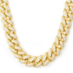 galleria of gold  Accessories - 18mm Iced Out Cuban link chain