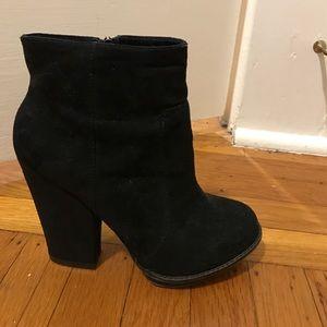 Zara black faux suede booties