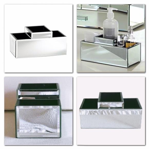 Pottery Barn Mirrored Makeup Storage Brush Holder