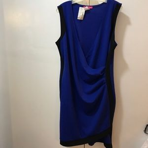 Asymmetrical blue and black dress