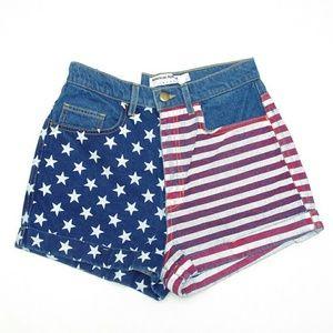 American Apparel High Waisted Denim Flag Shorts