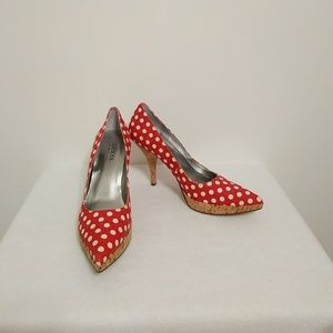 Guess Shoes - Guess red and white polka dot heels