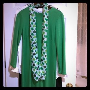 Adorable St Patty's green heart scarf