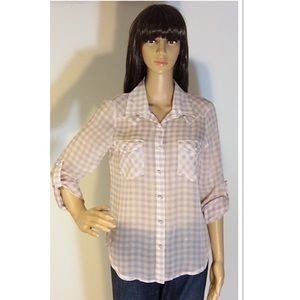 about a girl Tops - ADORABLE SEMI SHEER BUTTON DOWN TOP