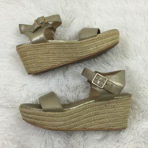 bp Shoes - BP women's gold shimmer rattan platform sandal 8.5