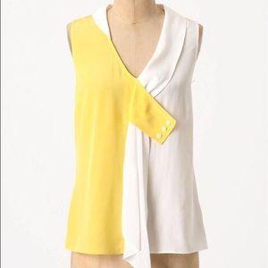 Anthropologie Yellow and White Silk Tank Blouse
