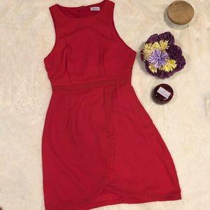 Red Tobi dress with tulip hem