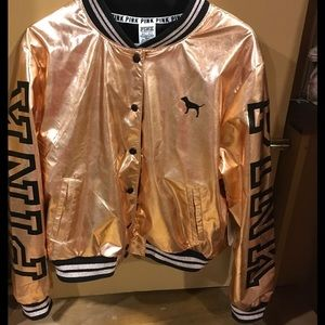 7332a3600 NWT Rose Gold Victoria Secret Pink Bomber size M/L NWT
