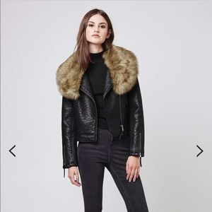 Topshop faux leather Moto jacket faux fur collar
