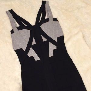 Bebe bandage dress in a fun sparkly gray and black