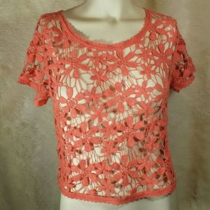 Kimchi Blue Tops - Kimchi Blue Crochet Floral Coral Top Size Small