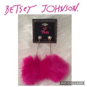 Betsey Johnson xox Trolls Faux-Fur Pom Pom Earring
