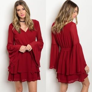 Love Riche Dresses & Skirts - Wine Red Long Bell Sleeve Chiffon Dress