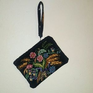 Vintage Accessories - Black Retro Bag Petite Point Purse Boho Fashion