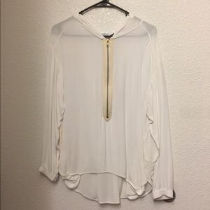 A.L.C. Tops - A.L.C white zipper down blouse