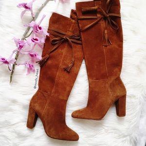 SALE • Zara cognac suede high heel boot