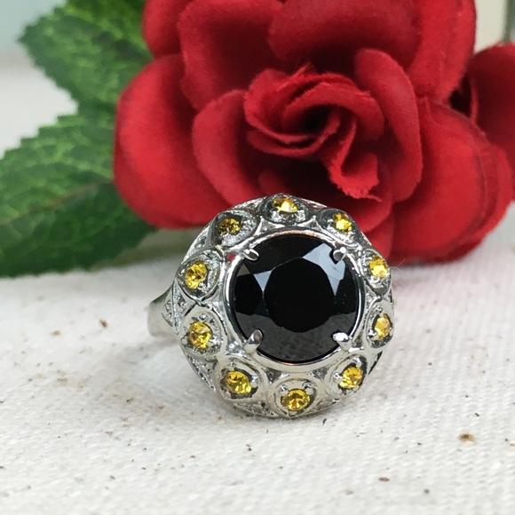 Kaki Jo's Closet Jewelry - Thai Black Spinel With Yellow Swarovski Crystals