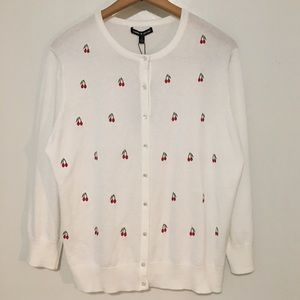 Cable & Gauge Sweaters - Cable & Gauge Cardigan Sweater Cherries Button Up