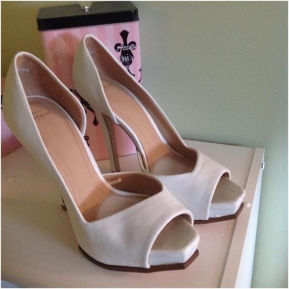 Zara Shoes - Zara Matte White Peep Toes Platform Stilettos