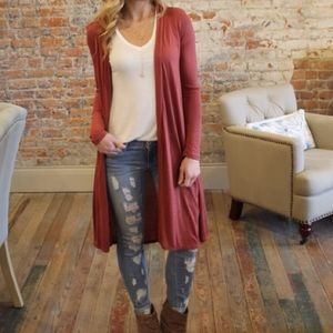 I love S & S Inc. Sweaters - Rust Long Sleeve Longline Cardigan