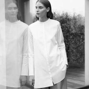 Cos Tops - COS white tunic collarless Minimalist