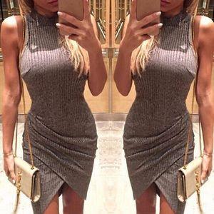 Grey ribbed bodycon dress