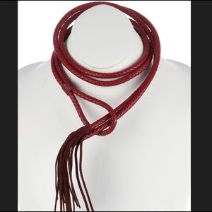 NWT Stunning red vegan leather rope necklace