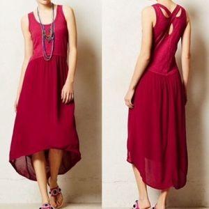 Anthropologie Dresses & Skirts - Left of Center Magenta Hi-low Racerback Tank Dress