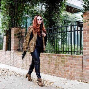 Nasty Gal Jackets & Blazers - Gold & Black Baroque Cape Blazer