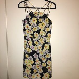 Sugar Lips Dresses & Skirts - Black Yellow Strappy Backless Summer Dress Size M