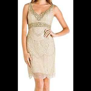 Sue Wong beaded deco cocktail dress