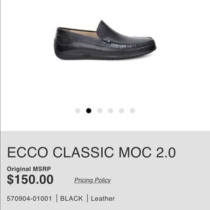 Ecco Other - Ecco Classic Moccasin 2.0 Black Leather size 44