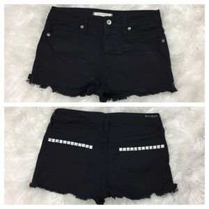Bullhead Pants - BULLHEAD frayed cropped studded shorts