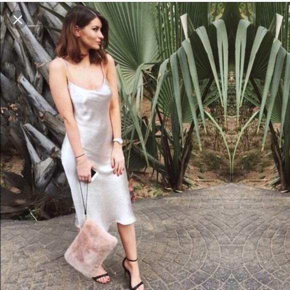 dc34c771 Reformation Dresses | Zara Silver Silk Dress | Poshmark