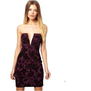 ASOS // velvet deep V strapless floral dress