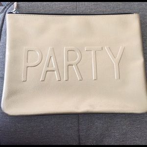 Handbags - Gold oversized clutch that reads party