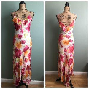 Cache Dresses & Skirts - Cache size 6 asymmetrical hemline floral dress!