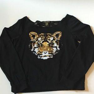 Miken Tops - Sequins Tiger Shirt