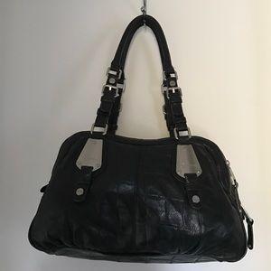 B Makowsky Handbags - BLK CROCO LEATHER B. MAKOWSKY