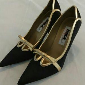 Diba Shoes - Diba black silk heels with gold bows