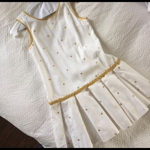 Camilla Other - Girls linen/cotton white/gold polka dot dress
