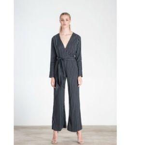 Pants - Pinstriped jumpsuit