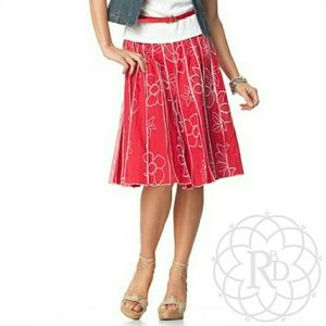 Coldwater Creek Dresses & Skirts - Coldwater Creek Red Embroidered Floral Skirt