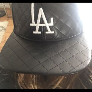 American Needle Accessories - LA Quilted Black Leather baseball hat!