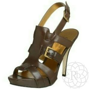 Guess Shoes - NEW Guess EULA Brown Leather Gladiator Heels